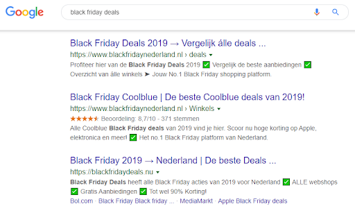 Black Friday SERP